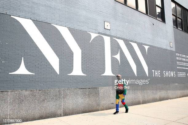 An exterior signage during New York Fashion Week: The Shows at Spring Studios on September 16, 2020 in New York City.