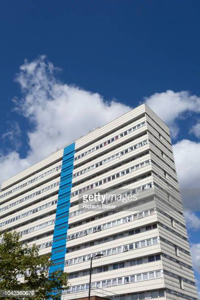 An exterior street view of Castlemead a highrise block of flats on the Camberwell Road on 7th September 2018 in south London Southwark UK