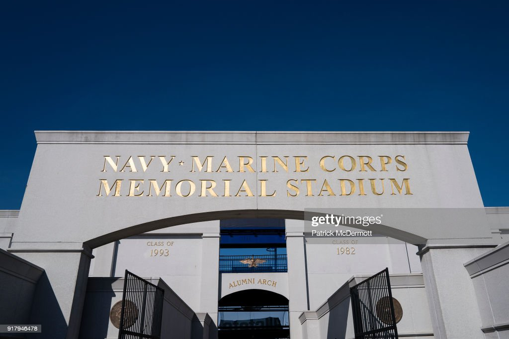 An exterior view during a tour of the Navy-Marine Corps Memorial Stadium, the site of the 2018 Coors Light NHL Sadium Series game between the Toronto Maple Leafs and Washington Capitals, on February 13, 2018 in Annapolis, Maryland.