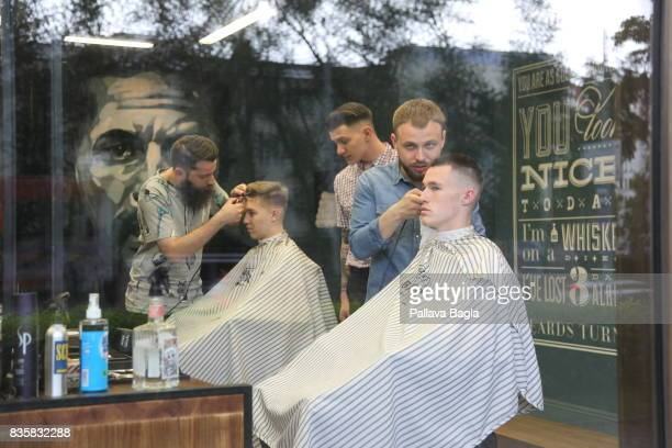 An exterior view of a barber's shop on June 25 2017 in Yekaterinburg Russia Situated in the Ural Mountains region on the banks of the Iset River the...