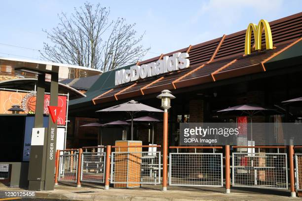 An exterior view of a branch of McDonald's drive-thru in London.