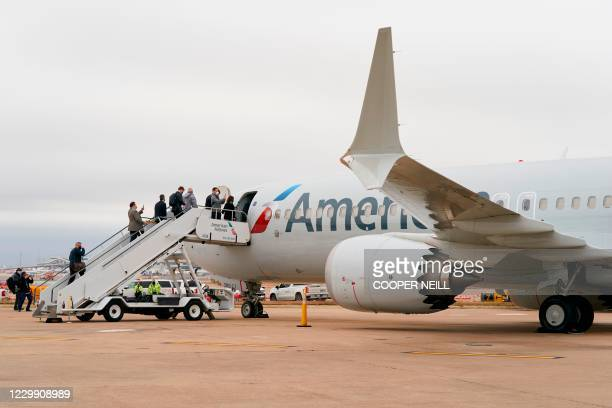 An exterior view of an American Airlines B737 MAX airplane is seen as members of the media board at Dallas-Forth Worth International Airport in...