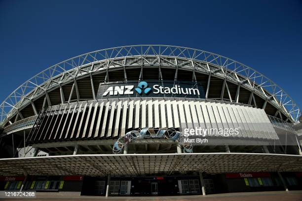 An exterior view of ANZ Stadium on April 04, 2020 in Sydney, Australia. Sport and events held at the stadium continue to be postponed and cancelled...