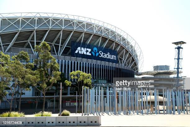 An exterior view of ANZ Stadium on April 04 2020 in Sydney Australia Sport and events held at the stadium continue to be postponed and cancelled...