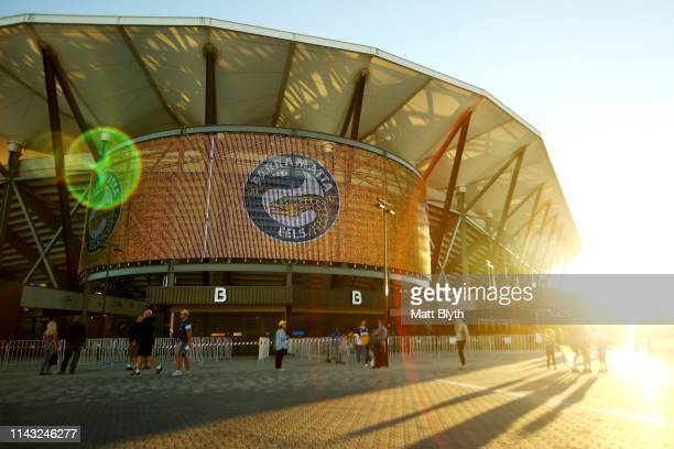 An exterior view of Bankwest Stadium ahead of a Parramatta Eels NRL training and media session at Bankwest Stadium on April 17, 2019 in Sydney,...