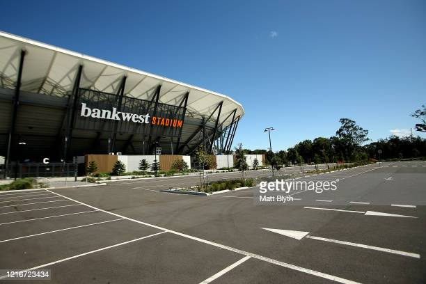 An exterior view of Bankwest Stadium on April 04 2020 in Sydney Australia Sport and events held at the stadium continue to be postponed and cancelled...