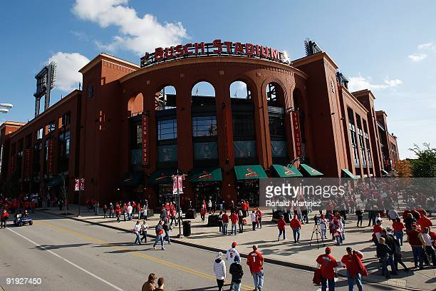 An exterior view of Busch Stadium before the start of Game Three of the NLDS during the 2009 MLB Playoffs between the St. Louis Cardinals and the Los...