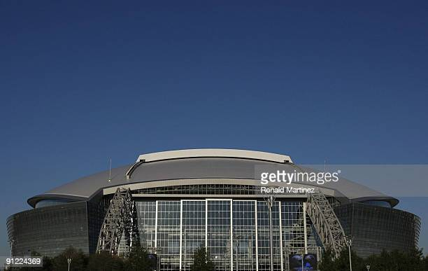 An exterior view of Cowboys Stadium is seen prior to the Carolina Panthers game against the Dallas Cowboys on September 28 2009 in Arlington Texas