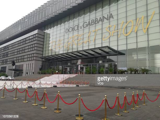 An exterior view of Dolce Gabbana Great Show which was cancelled tonight on November 21 2018 in Shanghai China Many Chinese stars including Zhang...