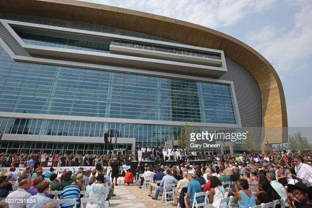An exterior view of Fiserv Forum during an open house and block party on August 26 2018 in Milwaukee Wisconsin NOTE TO USER User expressly...