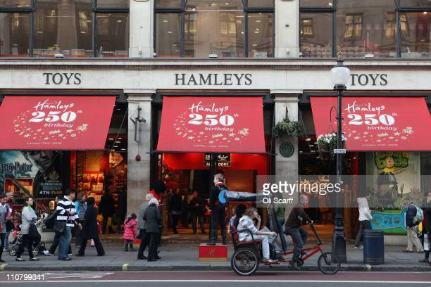 An exterior view of Hamleys toy shop on Regent Street on March 24 2011 in London England Founded in 1760 Hamleys is one of the world's largest toy...