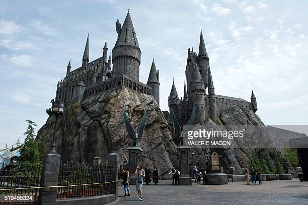 An exterior view of Hogwarts is seen during the 'Wizarding World of Harry Potter Opening' press preview at Universal Studios Hollywood in Studio City...