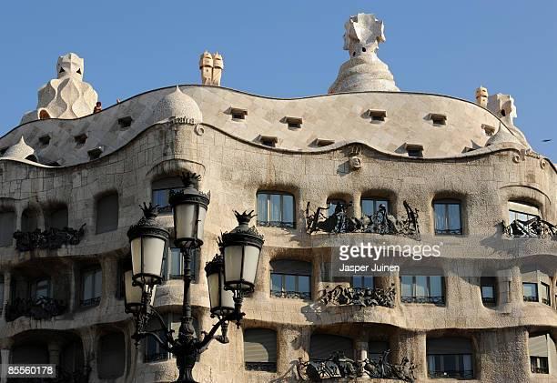 An exterior view of La Pedrera de Antoni Gaudi on March 20 2009 in Barcelona Spain