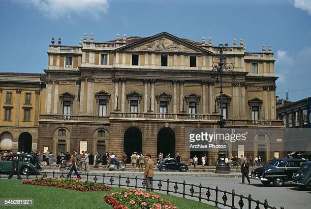 An exterior view of La Scala opera house in Milan, Italy, circa 1960.