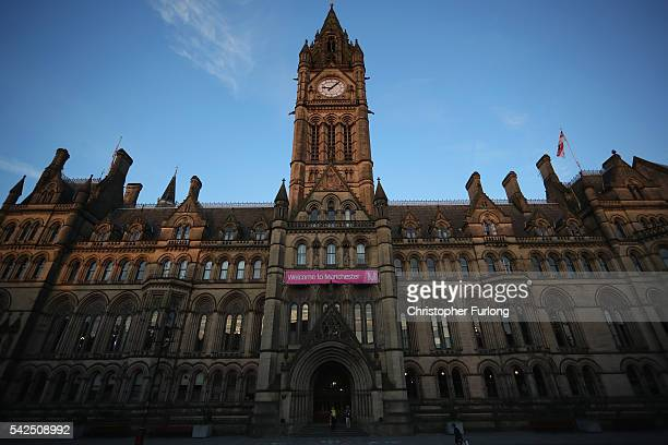 An exterior view of Manchester Town Hall the venue for the national referendum declaration on June 23 2016 Manchester United Kingdom The United...