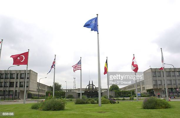 An exterior view of North Atlantic Treaty Organization headquarters is shown on June 6 2002 in Brussels Belgium NATO defense ministers are attending...
