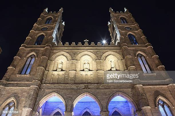 An exterior view of Notre Dame Basilica during a Public Memorial Service for Celine Dion's Husband Rene Angelil at NotreDame Basilica on January 21...
