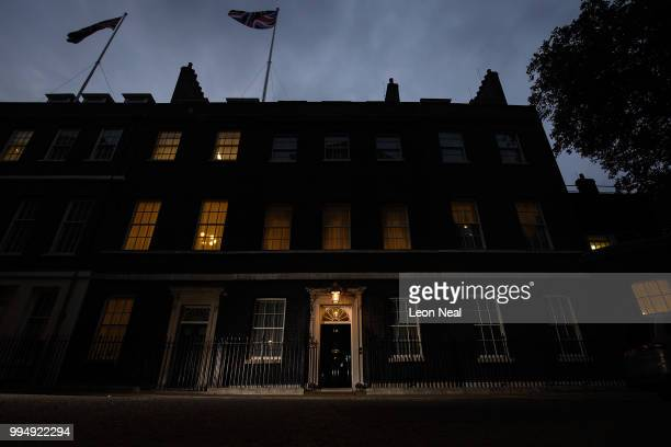 An exterior view of number 10 Downing Street on July 9 2018 in London England