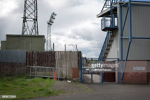 An exterior view of Palmerston Park, Dumfries, before Queen of the South hosted Stranraer in a Scottish Challenge Cup first round match. The game was...