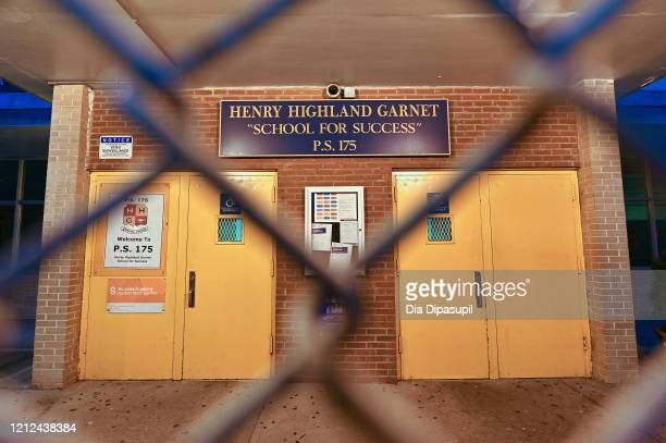 An exterior view of public school PS 175 Henry H Garnet in the Harlem neighborhood of Manhattan as the coronavirus continues to spread across the...
