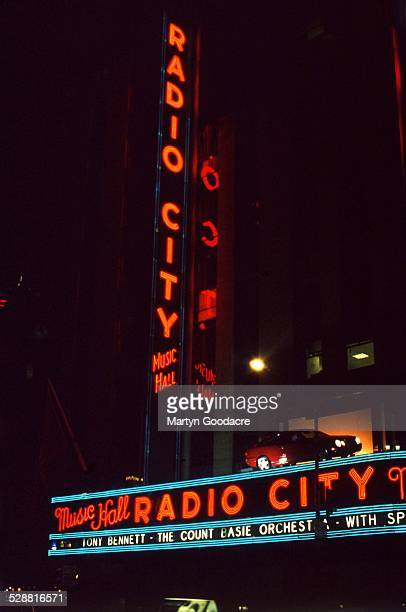 An exterior view of Radio City Music Hall before an appearance by Tony Bennett with the Count Basie Orchestra New York United States 1998