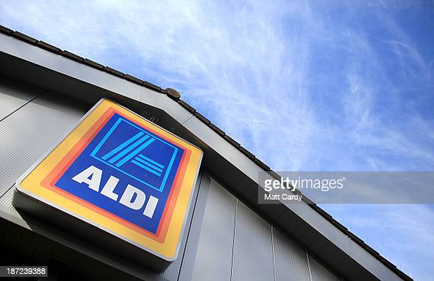An exterior view of signage at a branch of the budget supermarket Aldi on November 7 2013 in Bristol England As the German chain opens its 500th...