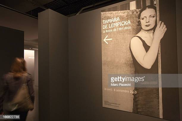 An exterior view of signage at the Exhibition 'Tamara de Lempicka Queen of the Art Deco' exhibition opening at La Pinacotheque on April 17 2013 in...