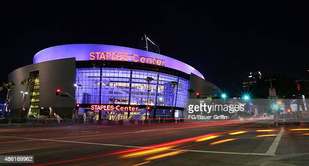 An exterior view of Staples Center in downtown Los Angeles on August 29, 2015 in Los Angeles, California.
