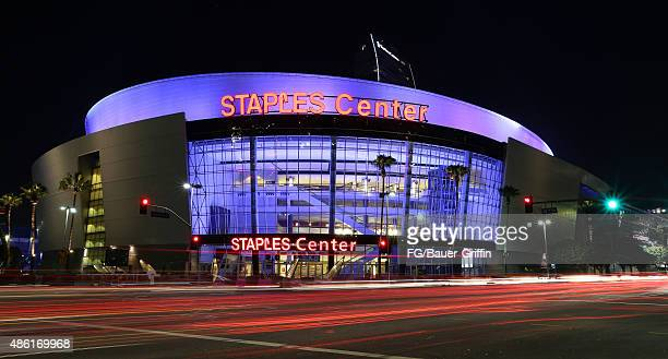 An exterior view of Staples Center in downtown Los Angeles on August 29 2015 in Los Angeles California