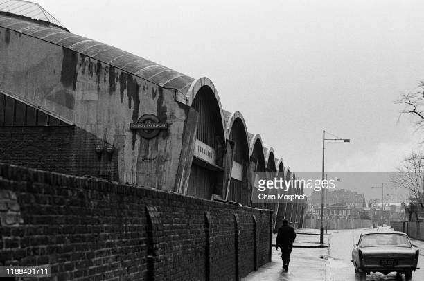An exterior view of Stockwell Bus Garage on Lansdowne Way Stockwell south London 26th February 1967