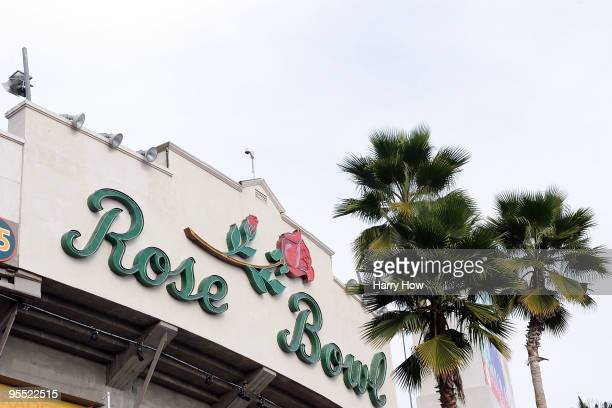 An exterior view of the 96th Rose Bowl game between the Oregon Ducks and the Ohio State Buckeyes on January 1 2010 in Pasadena California