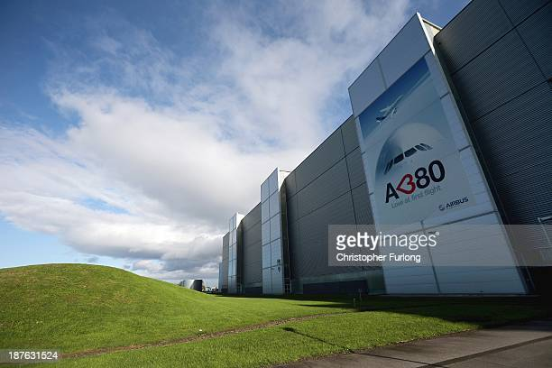 An exterior view of the Airbus A380 wing assembly plant at the Airbus SAS factory on November 7 2013 in Broughton United Kingdom The Airbus wing...