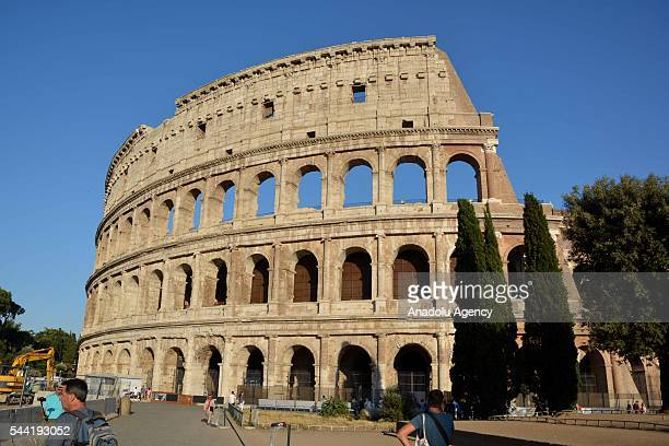 An exterior view of the ancient Colosseum arena after the end of the restoration period of the facade in Rome Italy on July 1 2016 The landmark Roman...