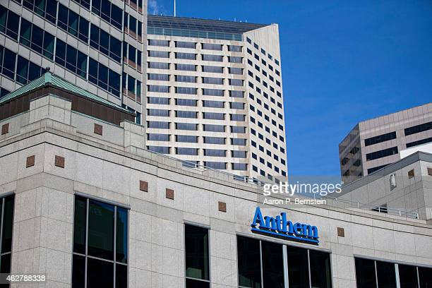 An exterior view of the Anthem Health Insurance headquarters on February 5 2015 in Indianapolis Indiana About 80 million company records were...