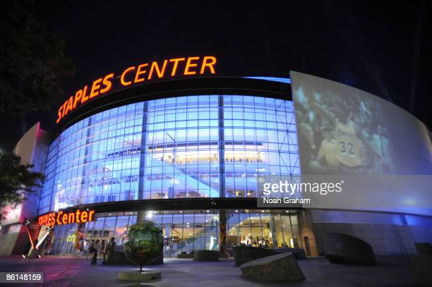 An exterior view of the arena at halftime during Game Two of the Western Conference Quarterfinals between the Utah Jazz and the Los Angeles Lakers...