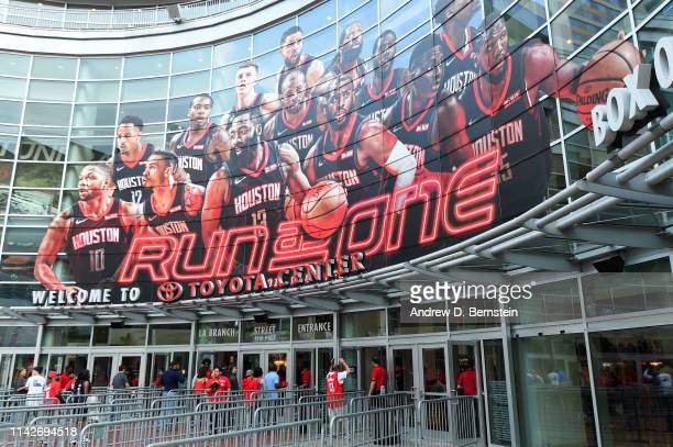An exterior view of the arena before Game Six of the Western Conference Semifinals between the Golden State Warriors and the Houston Rockets during...