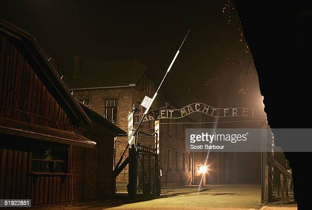 An exterior view of The Auschwitz complex on December 8 2004 showing the entrance gates to Auschwitz I with the words Arbeit Macht Frei over head The...