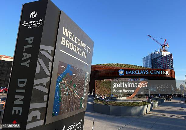 An exterior view of the Barclays Center prior to the game between the New York Islanders and the Calgary Flames on October 26 2015 in the Brooklyn...