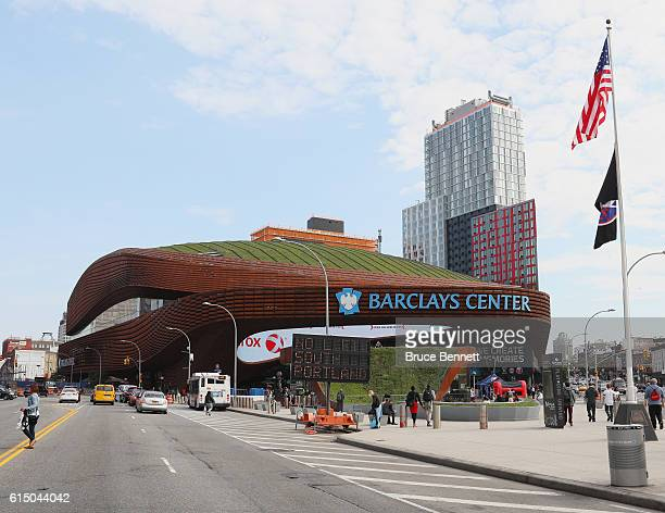An exterior view of the Barclays Center prior to the season opening game between the New York Islanders and the Anaheim Ducks on October 16 2016 in...