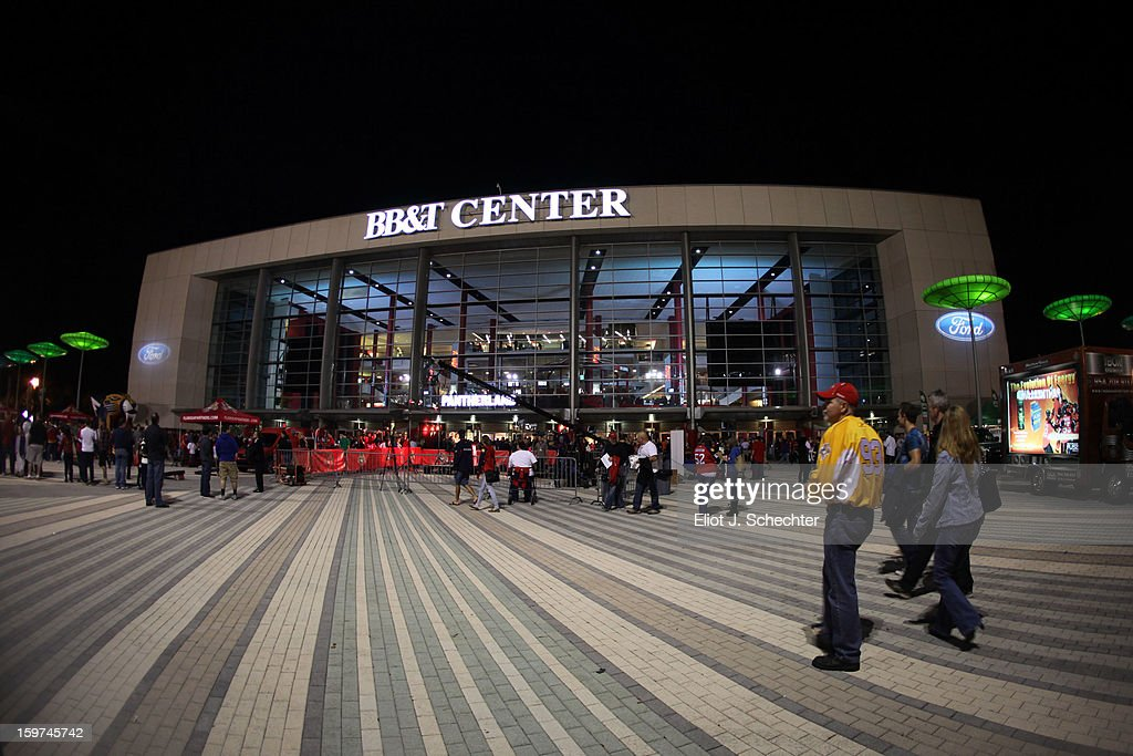 An exterior view of the BB&T Center prior to the start of the game between the Carolina Hurricanes and the Florida Panthers on January 19, 2013 in Sunrise, Florida.