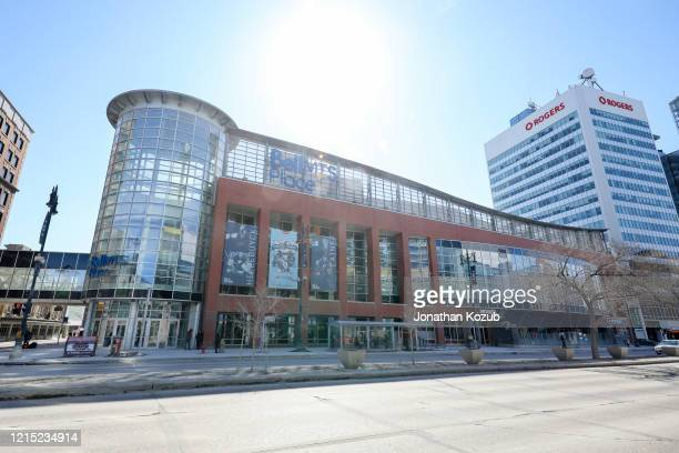 An exterior view of the Bell MTS Place arena on March 21 2020 in Winnipeg Manitoba Canada