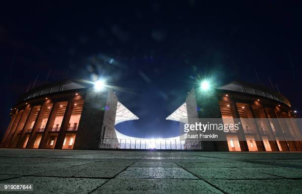 An exterior view of The Berlin Olympic stadium prior to the Bundesliga match between Hertha BSC and 1 FSV Mainz 05 at Olympiastadion on February 16...
