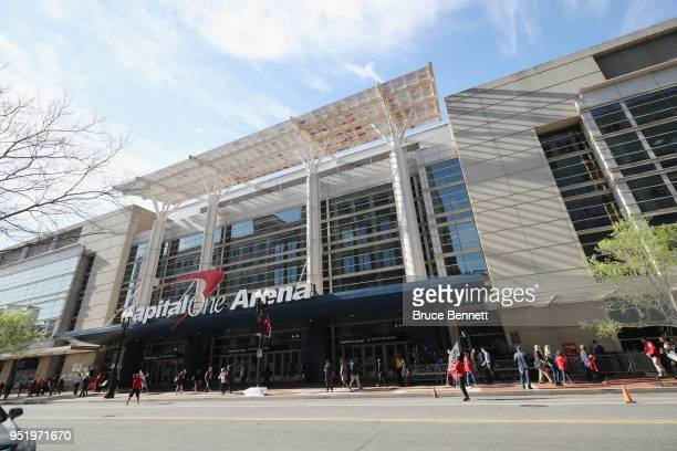 An exterior view of the Capital One Arena prior to the game between the Washington Capitals and the Pittsburgh Penguins in Game One of the Eastern...