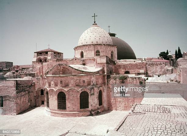 An exterior view of the Chapel of the Holy Sepulchre which was originally built by Helena in 336 AD Several religious groups worship in the buildings...