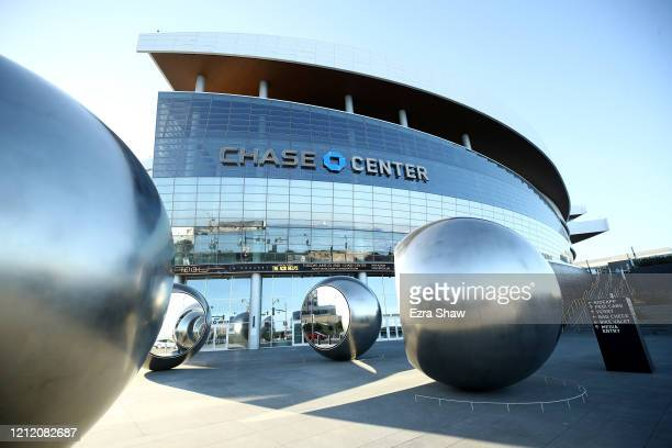 An exterior view of the Chase Center, where the NBA Golden State Warriors play on March 12, 2020 in San Francisco, California. The Warriors were...