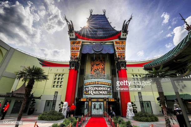An exterior view of The Chinese Theater at Disney's Hollywood Studios on the eve of the grand opening of Mickey Minnie's Runaway Railway at Walt...