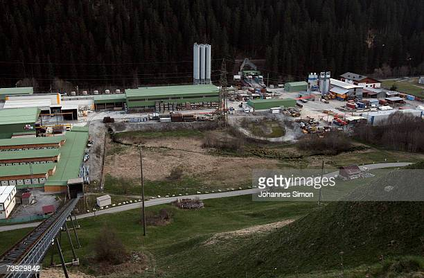 An exterior view of the construction site for the Gotthard Base Tunnel on April 19 2007 near Sedrun Switzerland Deep beneath the Alps the Swiss are...