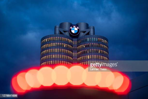 An exterior view of the corporate headquarters of German automaker BMW on October 06 2020 in Munich Germany BMW announced in June that it was laying...