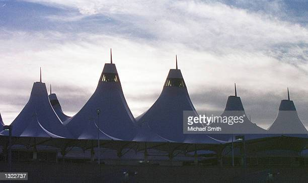 An exterior view of the Denver International Airport is visible June 17 2001 in Denver CO