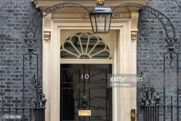 An exterior view of the door to No 10 Downing Street, Westminster in London.